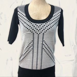 DEREK LAM 10 crosby black white silk sweater